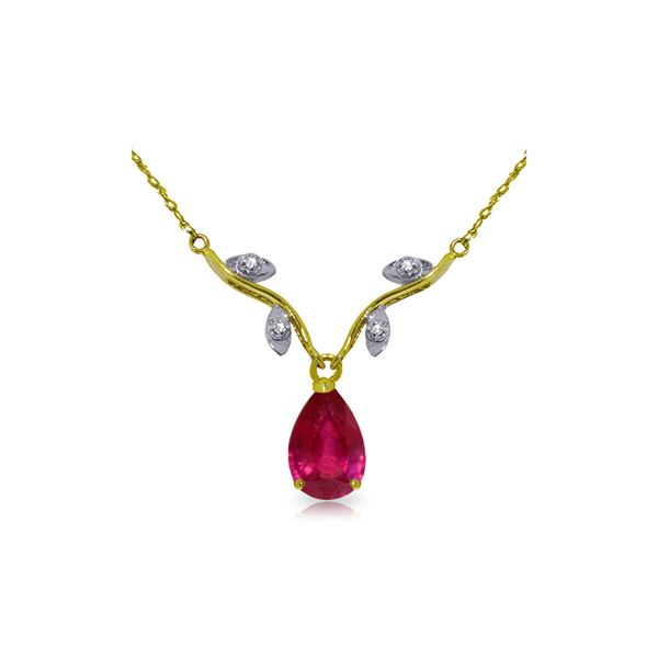 Genuine 1.52 ctw Ruby & Diamond Necklace 14KT White Gold - REF-35K9V