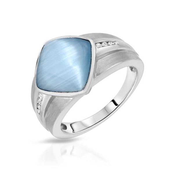 Natural 4.96 CTW Blue Sapphire & Diamond Ring 14K White Gold - REF-65M7F