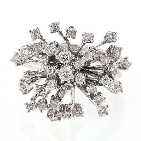 Natural 1.11 CTW Diamond Ring 18K White Gold - REF-176R4K