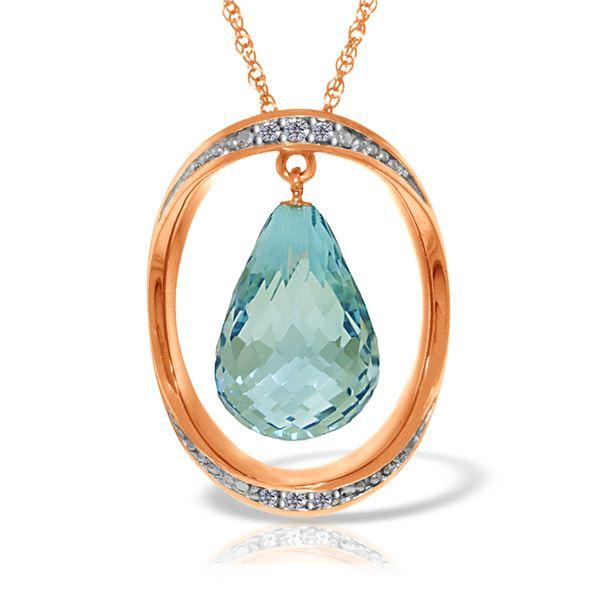 Genuine 11.60 ctw Blue Topaz & Diamond Necklace 14KT Rose Gold - REF-112A2K