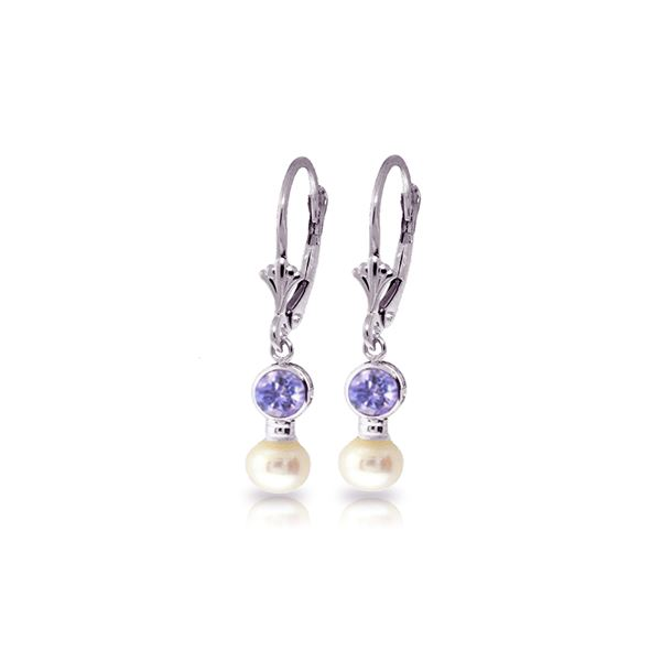Genuine 5.2 ctw Tanzanite & Pearl Earrings 14KT White Gold - REF-41A4K