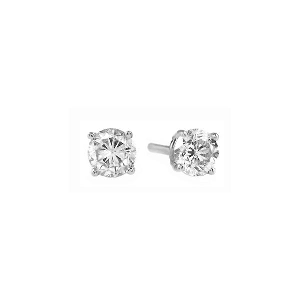 Genuine 0.50 ctw Diamond Anniversary Earrings 14KT White Gold - REF-100X2M
