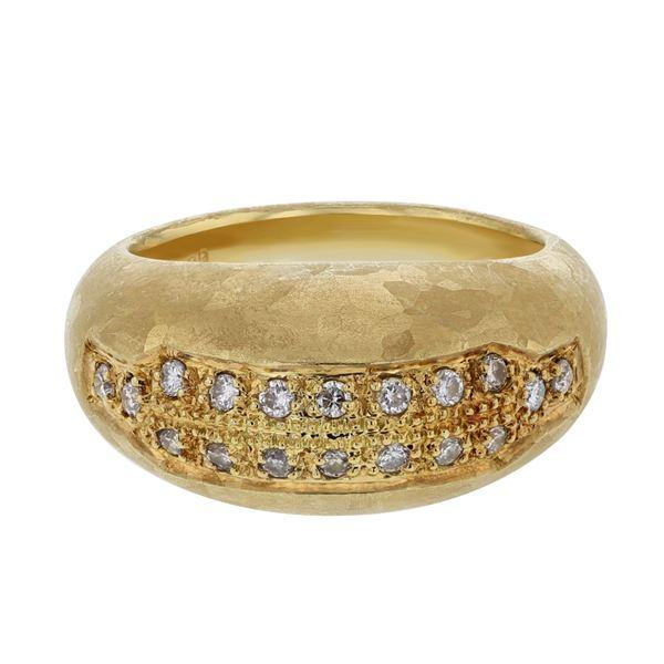 Natural 0.28 CTW Diamond Ring 18K Yellow Gold - REF-111X6T