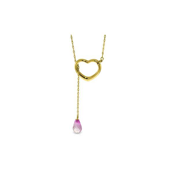Genuine 2.25 ctw Pink Topaz Necklace 14KT Yellow Gold - REF-32R9P