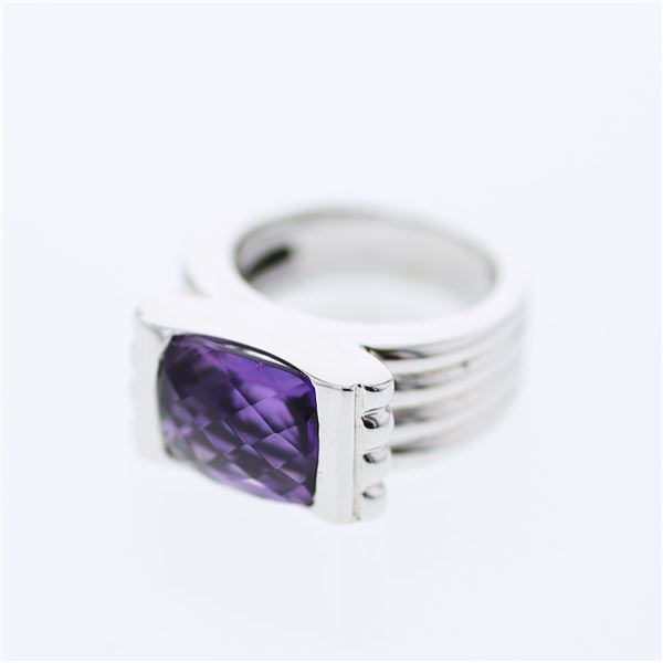 Natural 5.23 CTW Amethyst Ring 14K White Gold - REF-86Y4N