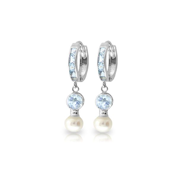 Genuine 4.3 ctw Aquamarine & Pearl Earrings 14KT White Gold - REF-52X9M