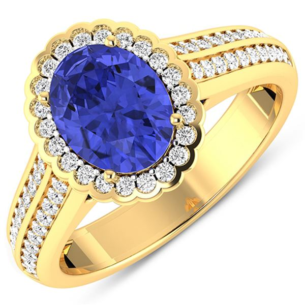 Natural 2.02 CTW Tanzanite & Diamond Ring 14K Yellow Gold - REF-75R9F