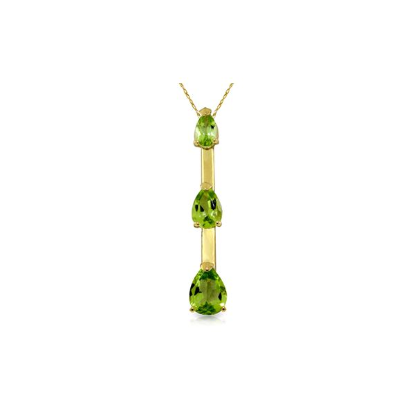 Genuine 1.71 ctw Peridot Necklace 14KT Yellow Gold - REF-27N5R