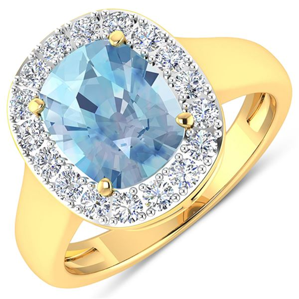 Natural 3.51 CTW Aquamarine & Diamond Ring 14K Yellow Gold - REF-96M3T