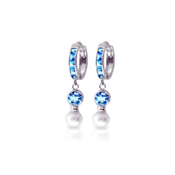 Genuine 4.3 ctw Blue Topaz & Pearl Earrings 14KT White Gold - REF-48N3R