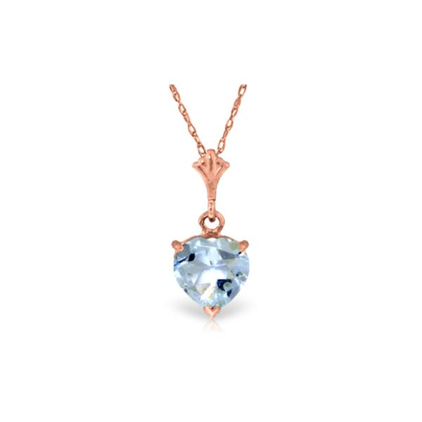 Genuine 1.15 ctw Aquamarine Necklace 14KT Rose Gold - REF-22A8K