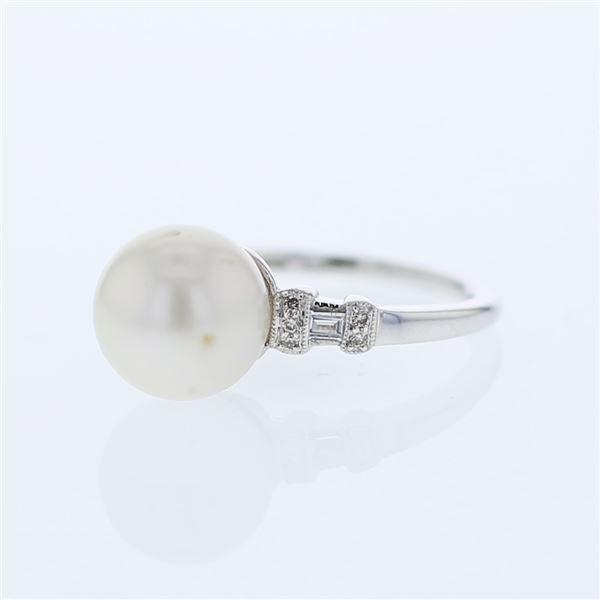 Natural 8.81 CTW Pearl & Baguette Ring 18K White Gold - REF-61M2F