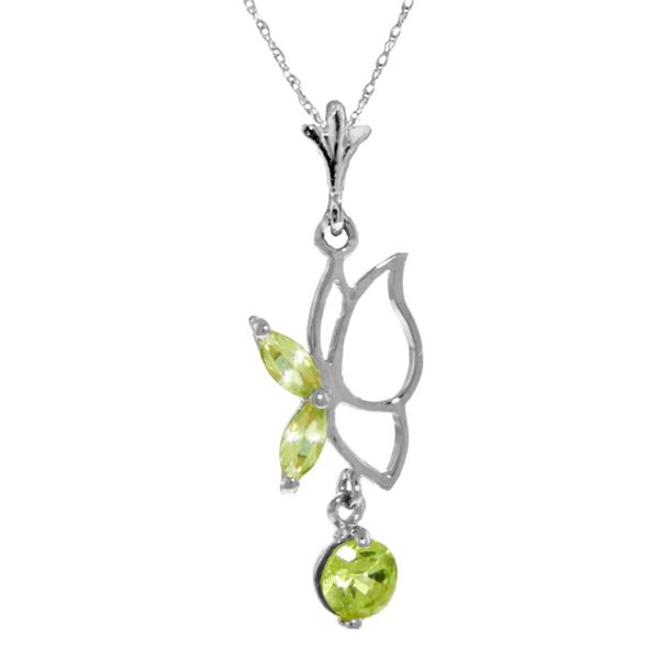 Genuine 0.40 ctw Peridot Necklace 14KT White Gold - REF-22V2W