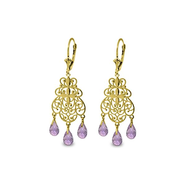 Genuine 3.75 ctw Amethyst Earrings 14KT Yellow Gold - REF-58A3K