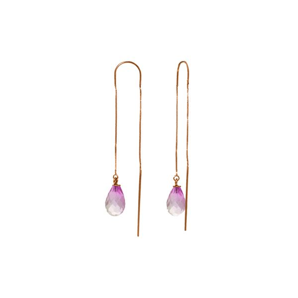 Genuine 4.5 ctw Pink Topaz Earrings 14KT Rose Gold - REF-20Z4N
