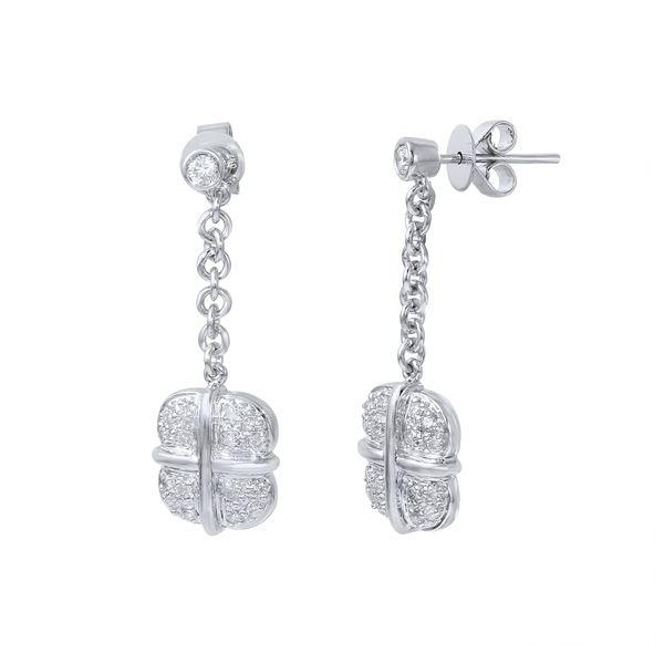 Natural 0.50 CTW Diamond Earrings 14K White Gold - REF-74X7T