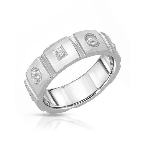 Natural 0.04 CTW Diamond Ring 14K White Gold - REF-53X3T
