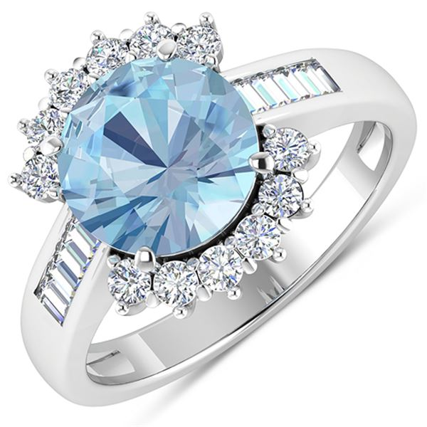 Natural 3.48 CTW Aquamarine & Diamond Ring 14K White Gold - REF-108H7M