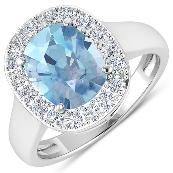 Natural 3.51 CTW Aquamarine & Diamond Ring 14K White Gold - REF-96W3X