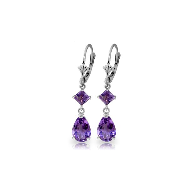 Genuine 4.5 ctw Amethyst Earrings 14KT White Gold - REF-41X4M