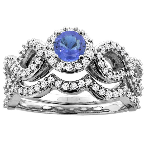 1.09 CTW Tanzanite & Diamond Ring 14K White Gold - REF-95M6A