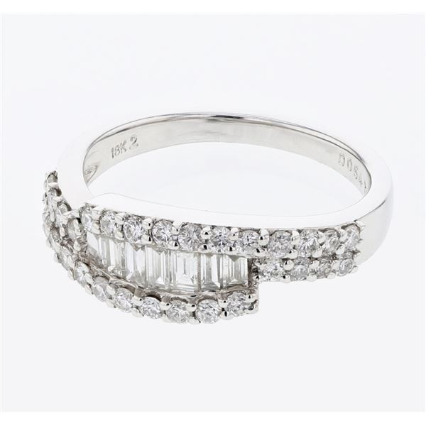 Natural 0.87 CTW Baguette & Diamond Ring 18K White Gold - REF-123Y3N