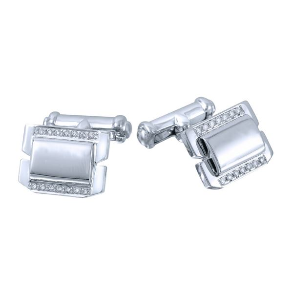 Natural 0.19 CTW Diamond Cuff Links 14K White Gold - REF-98M3F