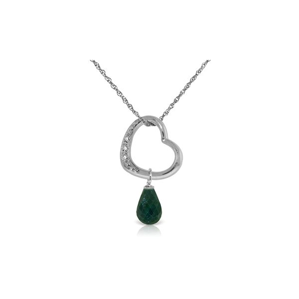 Genuine 3.33 ctw Emerald & Diamond Necklace 14KT White Gold - REF-46W2Y