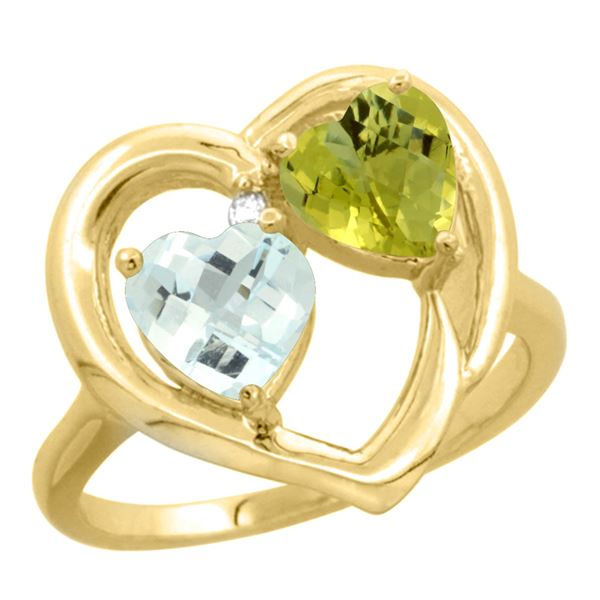 2.61 CTW Diamond, Aquamarine & Lemon Quartz Ring 10K Yellow Gold - REF-27V5R
