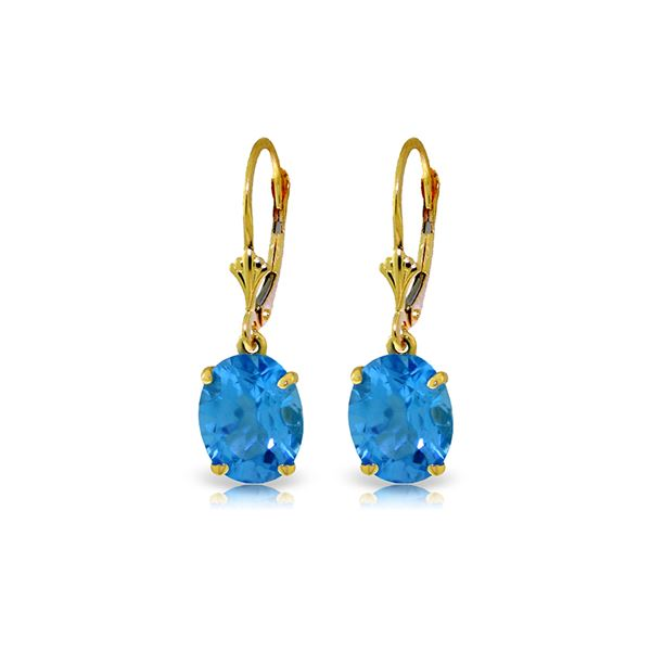 Genuine 6.25 ctw Blue Topaz Earrings 14KT Yellow Gold - REF-41X2M