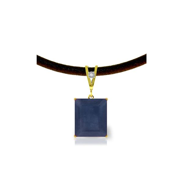 Genuine 7.01 ctw Sapphire & Diamond Necklace 14KT Yellow Gold - REF-80Y6F