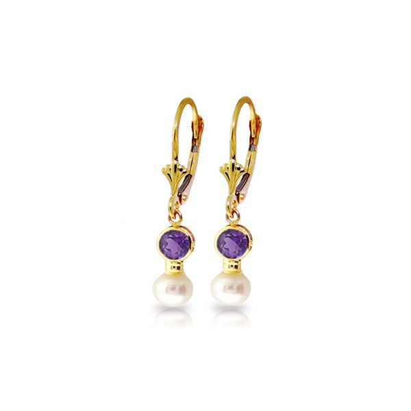 Genuine 5.2 ctw Amethyst & Pearl Earrings 14KT Yellow Gold - REF-35T9A