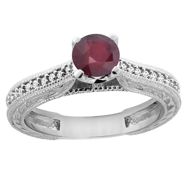 0.75 CTW Ruby & Diamond Ring 14K White Gold - REF-53Y5V