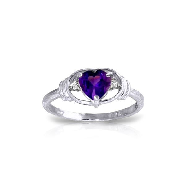 Genuine 0.96 ctw Amethyst & Diamond Ring 14KT White Gold - REF-40P3H