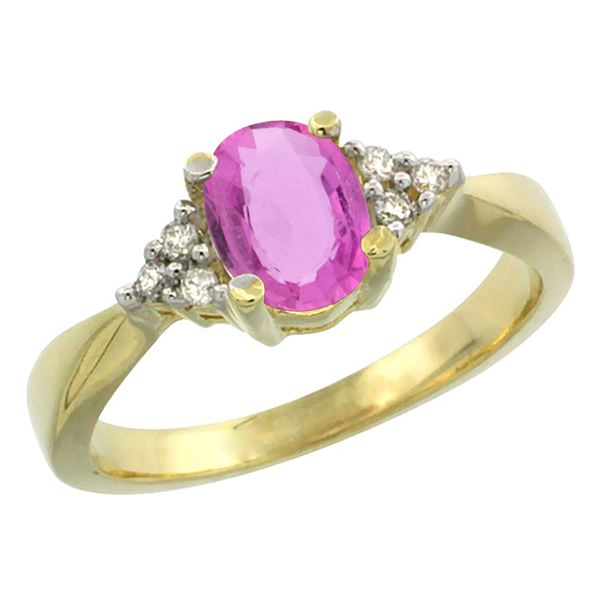 1.06 CTW Pink Sapphire & Diamond Ring 14K Yellow Gold - REF-36N3Y