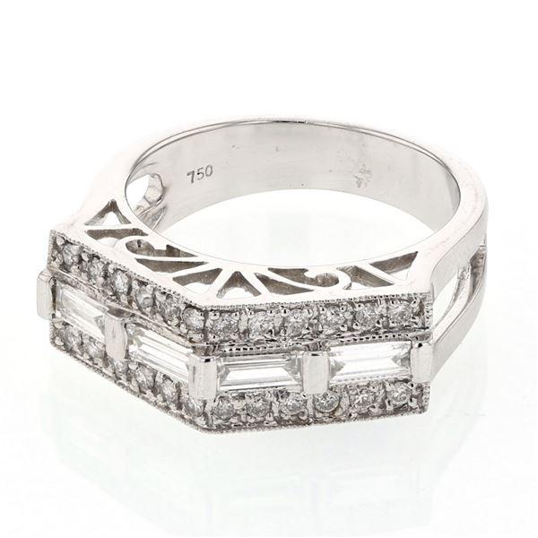 Natural 0.66 CTW Baguette & Diamond Ring 18K White Gold - REF-137H7W