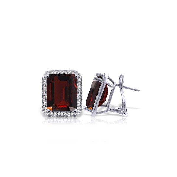Genuine 15.4 ctw Garnet & Diamond Earrings 14KT White Gold - REF-135T8A