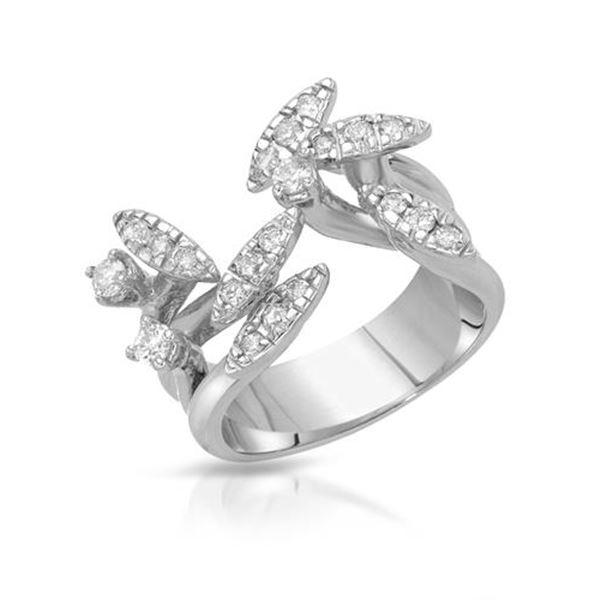 Natural 0.51 CTW Diamond Ring 18K White Gold - REF-154Y8N