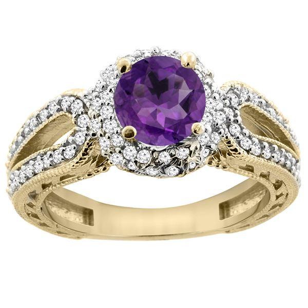 1.25 CTW Amethyst & Diamond Ring 14K Yellow Gold - REF-86V7R