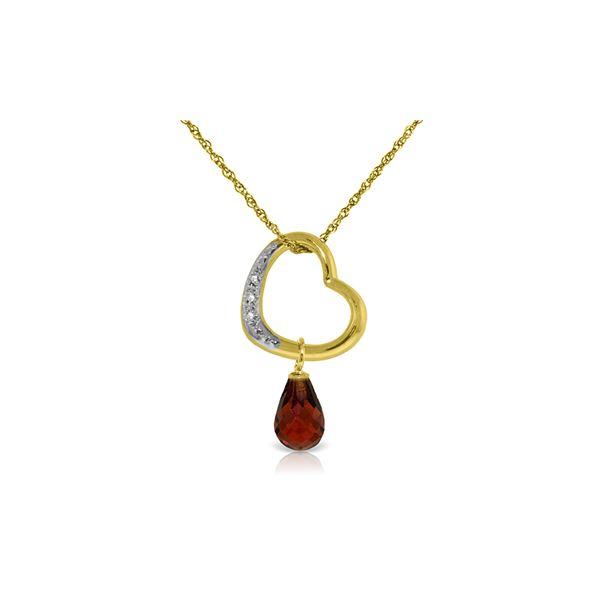 Genuine 2.28 ctw Garnet & Diamond Necklace 14KT Yellow Gold - REF-40R7P