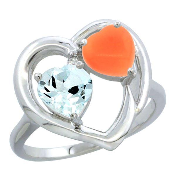 1.31 CTW Aquamarine & Diamond Ring 14K White Gold - REF-37A6X