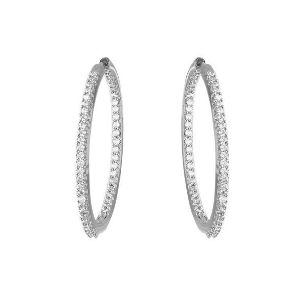 Natural 0.90 CTW Diamond Earrings 18K White Gold - REF-181M8F