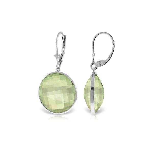 Genuine 36 ctw Green Amethyst Earrings 14KT White Gold - REF-80V4W
