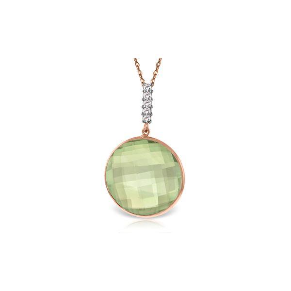Genuine 18.08 ctw Green Amethyst & Diamond Necklace 14KT Rose Gold - REF-65W8Y
