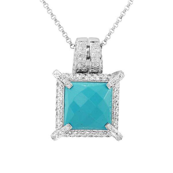 Natural 10.01 CTW Turquoise & Diamond Necklace 14K White Gold - REF-285Y3N
