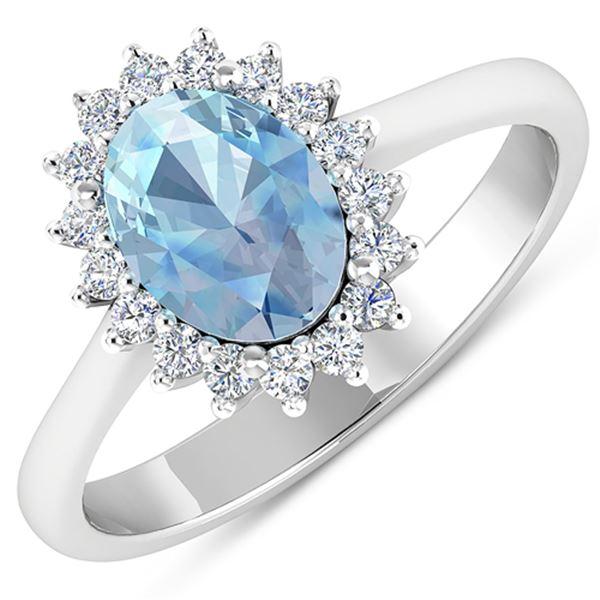Natural 1.62 CTW Aquamarine & Diamond Ring 14K White Gold - REF-55F3N