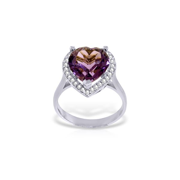 Genuine 3.24 ctw Amethyst & Diamond Ring 14KT White Gold - REF-66W9Y