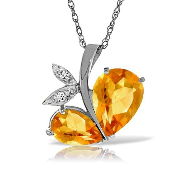 Genuine 4.06 ctw Citrine & Diamond Necklace 14KT White Gold - REF-59Y2F