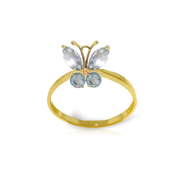 Genuine 0.60 ctw Aquamarine Ring 14KT Yellow Gold - REF-30K6V