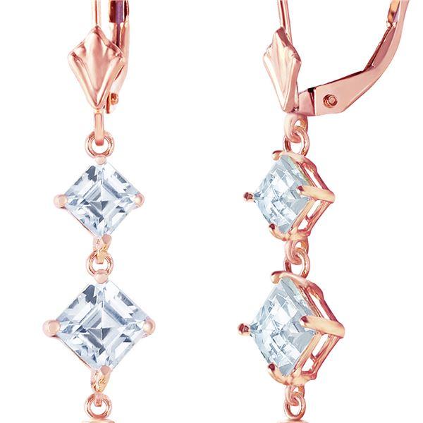 Genuine 6.5 ctw Pearl & Aquamarine Earrings 14KT Rose Gold - REF-45A8K